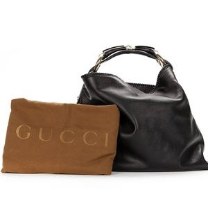 Gucci BLACK LEATHER HORSEBIT BUCKLE HOBO BAG